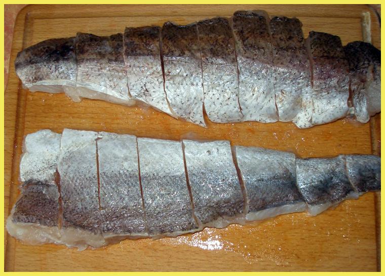 порезаная рыба
