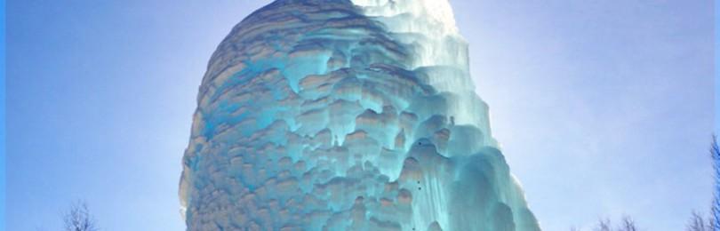 Ледяной фонтан Зюраткуль на Южном Урале